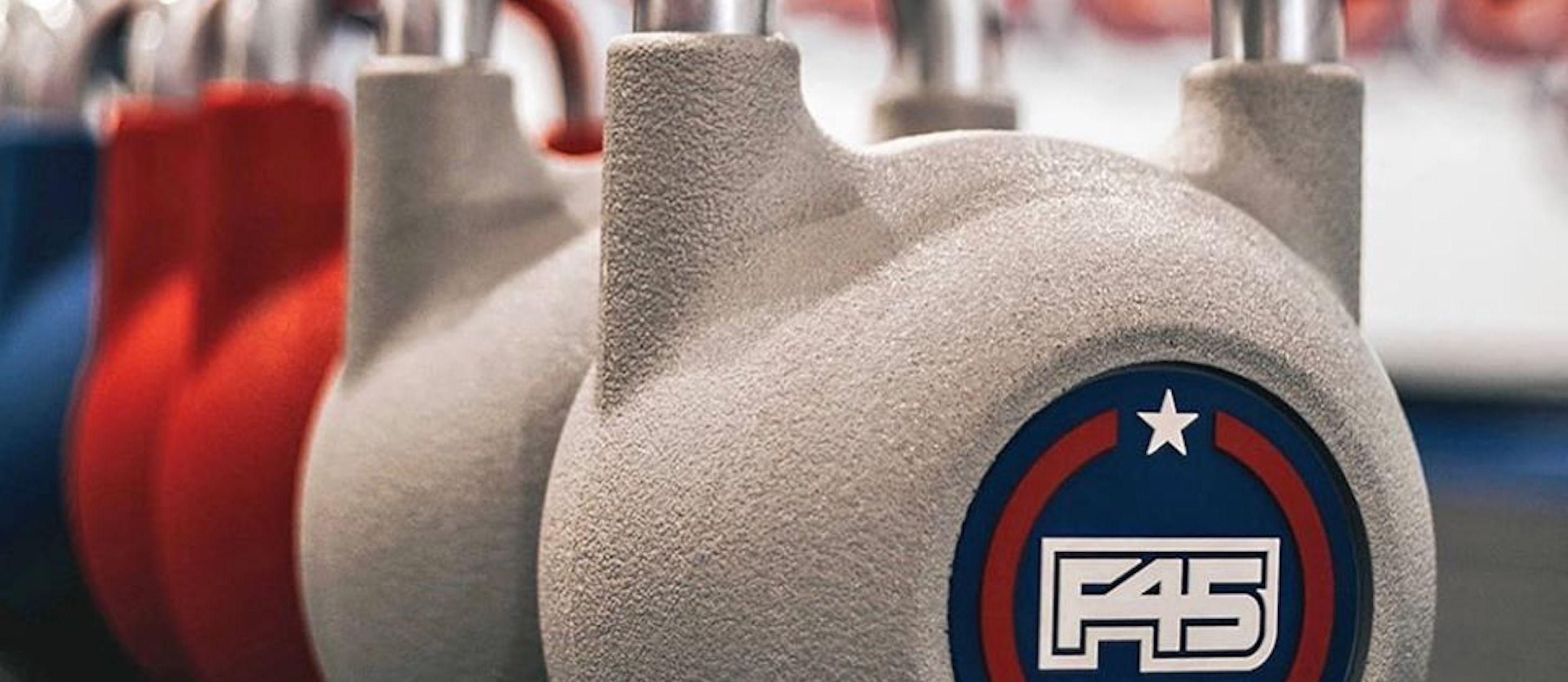 Kettlebells with the F45 logo
