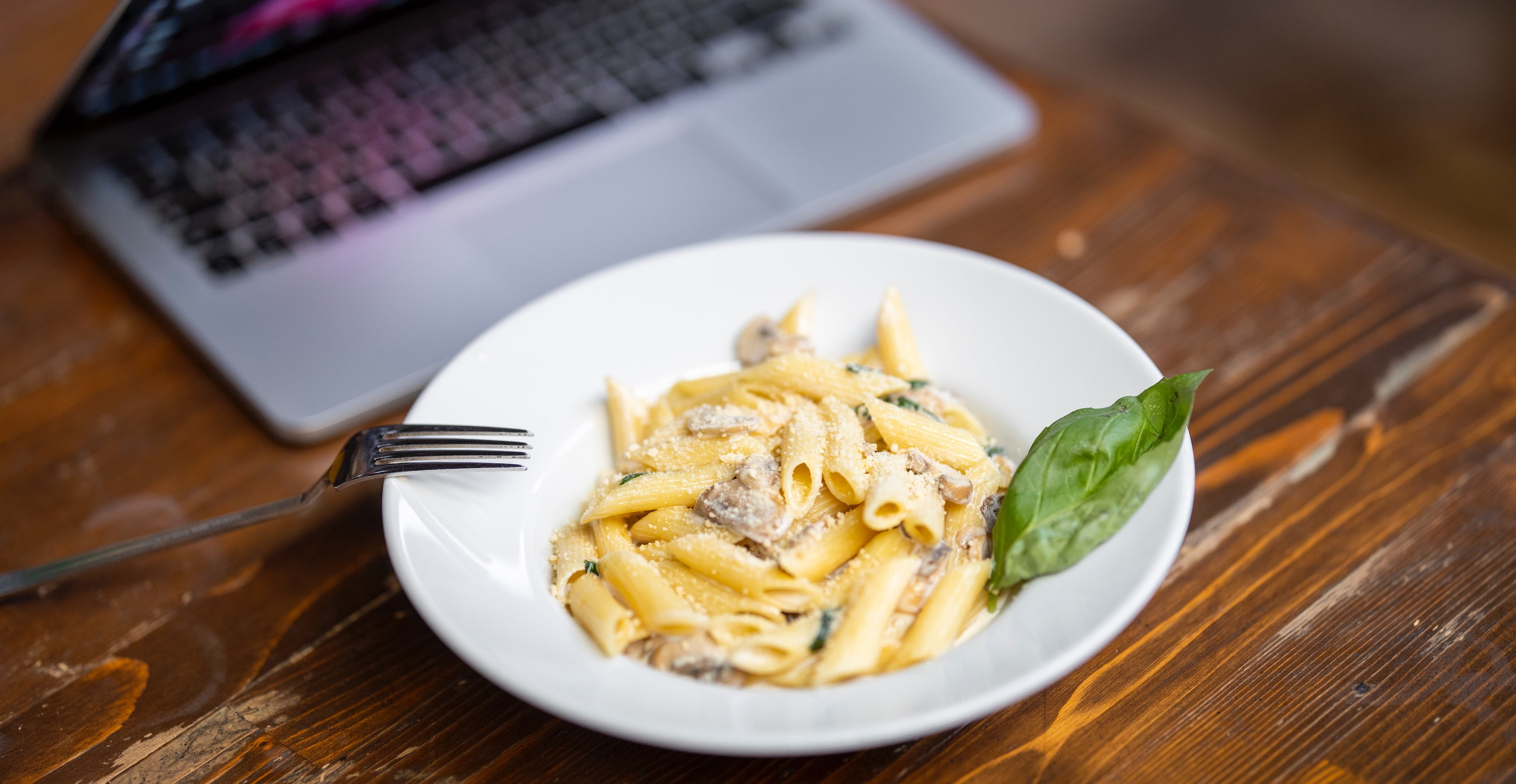 Pasta and laptop