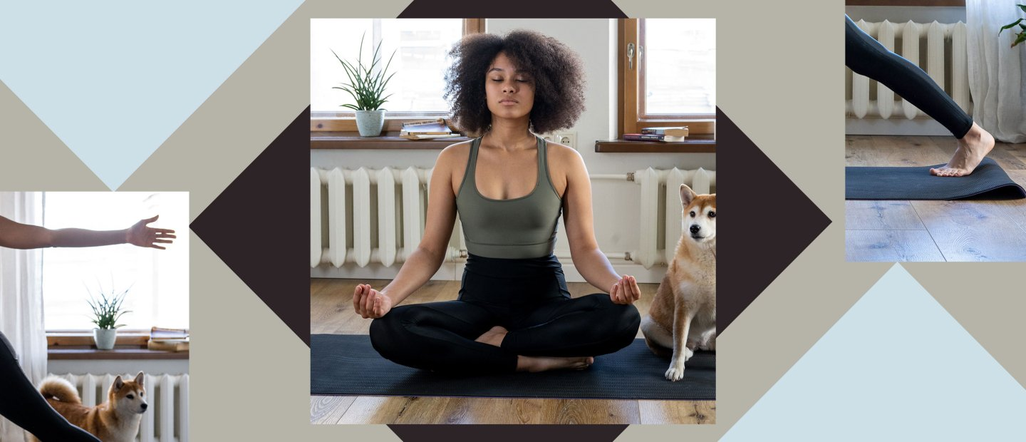 woman doing at-home yoga with dog