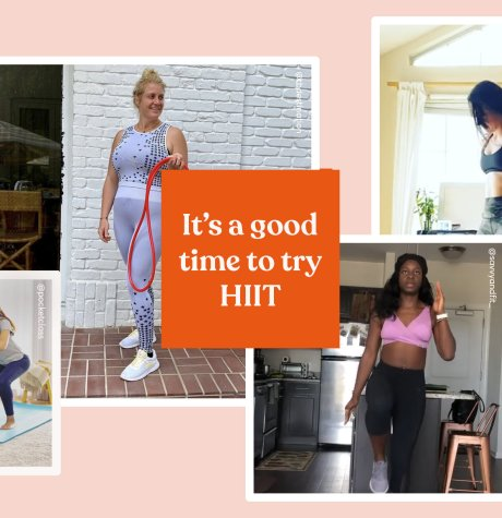 """It's a good time to try HIIT"" text with photos of women working out"