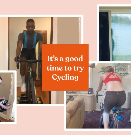 """It's a good time to try spin"" text with photos of people indoor cycling"