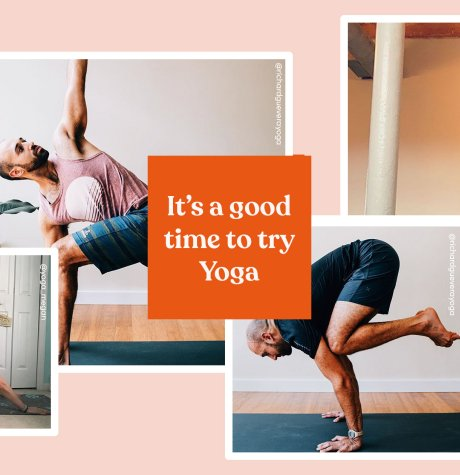 """It's a good time to try yoga"" text with photos of yoga"